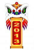 stock photo of chinese new year 2013  - Chinese Lion Dance Colorful Ornate Head and Scroll with New Year 2013 Numerals Illustration Isolated on White Background - JPG