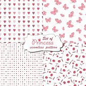 stock photo of faerie  - Seamless pattern for little princess - JPG