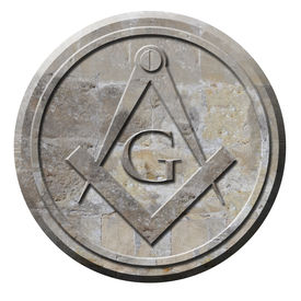 image of freemasons  - Freemason symbol of compass and square carved in stone circle - JPG