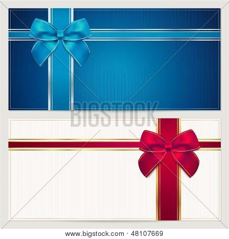 Gift voucher coupon template with blue and red bow ribbons gift voucher coupon template with blue and red bow ribbons poster yadclub Gallery