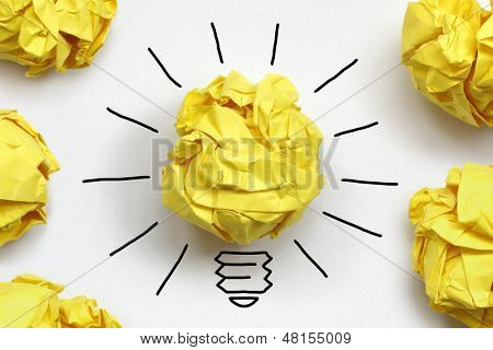 Inspiration concept crumpled paper light bulb metaphor for good idea poster