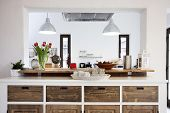 stock photo of firehouse  - Rustic kitchen interior - JPG
