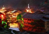 Night illumination of homes in large Chinese village, Zhaoxing Dong Village, Liping County, Guizhou