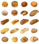 foto of baps  - A selection of freshly baked bread and baps isolated on a white background - JPG