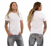 foto of dreadlock  - Photo of a male in his early thirties with long dreadlocks and posing with a blank white shirt - JPG