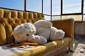 stock photo of teddy  - Vintage teddy bear and couch in abandoned building - JPG