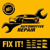 stock photo of car symbol  - Car repair shop sign - JPG