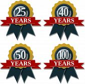 stock photo of 50s  - seal and ribbon collection commemorating 25 40 50 100 years - JPG