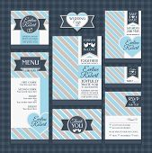 pic of ring-dove  - set of classic wedding cards vector illustration - JPG