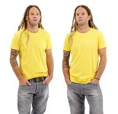 stock photo of early-man  - Photo of a male in his early thirties with long dreadlocks and posing with a blank yellow shirt - JPG