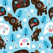 Seamless adorable reindeer and merry christmas typography illustration background pattern in vector
