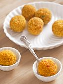 foto of laddu  - close up of traditional indian laddoo sweets - JPG