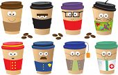 stock photo of geek  - Cute vector set of 8 coffee cups characters - JPG