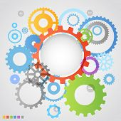 picture of time machine  - Color different gear wheels abstract background - JPG