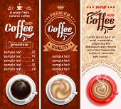 stock photo of latte coffee  - Set of three coffee design templates - JPG