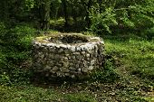Old stone draw well in the forest