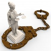 pic of handlock  - Themis statue and handcuffs over white background - JPG