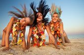 stock photo of hula dancer  - Beautiful hawaiian Hula Dancer Girls - JPG