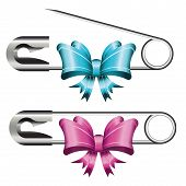 Set Of Opened And Closed Safety Pins With Colorful Bows