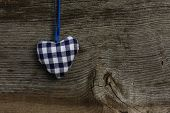 Blue Pattern Love Valentine's Heart Hanging On Wooden Texture Background