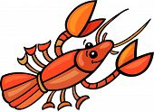 stock photo of craw  - cartoon vector illustration of funny red craw fish - JPG