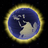 foto of eastern hemisphere  - An electronic scan high energy planet Earth on a bright fire aura and starfield background - JPG