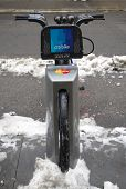 Citi bike under snow near Times Square in Manhattan