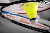 stock photo of shuttlecock  - Badminton rackets and colorful yellow shuttlecock  - JPG