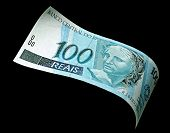 image of brazilian money  - Photography Brazilian real money 100 bill on black background - JPG