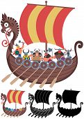 stock photo of viking ship  - Cartoon Viking ship in 4 versions - JPG