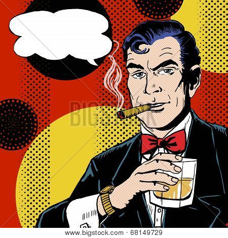 Vintage Pop Art Man With Glass Smoking Cigar And Speech Bubble Poster