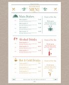 stock photo of cocktail menu  - Elegant restaurant menu list with decorative elements vector illustration - JPG