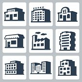 stock photo of isometric  - Buildings vector icons - JPG