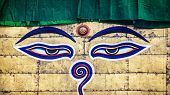pic of all seeing eye  - Buddha eyes close up at Swayambhunath stupa in Kathmandu Nepal - JPG