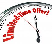 stock photo of countdown  - Limited Time Offer words clock countdown showing the deadline special savings event  - JPG