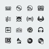 image of g clef  - Music related vector icons set on gray background - JPG