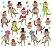 stock photo of sock-monkey  - Vector Collection of Cute Christmas and Winter Themed Sock Monkeys - JPG