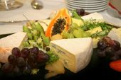 pic of cheese platter  - Cheese platter with different types of cheese grapes - JPG