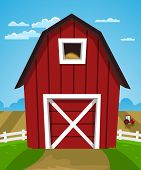picture of threshing  - Cartoon illustration of red farm barn with tractor - JPG