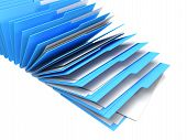 image of blinders  - Row of blue binders of documents white background - JPG