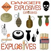 stock photo of projectile  - Explosive substances and objects used in industry and military affairs - JPG