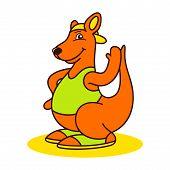 image of kangaroo  - Kangaroo athlete sign Isolated on white background - JPG