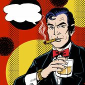 stock photo of cigar  - Vintage Pop Art Man with glass  smoking  cigar and with speech bubble - JPG