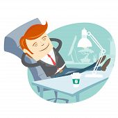 stock photo of flat-foot  - Vector Illustration of  Office man sitting with feet on his working desk - JPG
