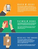 stock photo of shipping receiving  - Internet shopping process of order goods purchasing and delivery - JPG