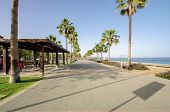 stock photo of pergola  - A view of Molos Promenade on the coast of Limassol city in Cyprus - JPG