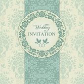 foto of ring-dove  - Antique baroque wedding invitation - JPG