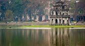 picture of tortoise  - Turtle tower or Tortoise tower in Hoan Kiem lake in Hanoi - JPG