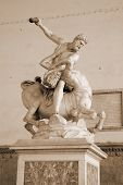 foto of centaur  - Ancient sculpture Hercules and the Centaur Nessus in the Loggia dei Lanzi in Florence Italy - JPG