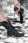 picture of gun shot wound  - Beautiful woman shooting herself in the foot - JPG